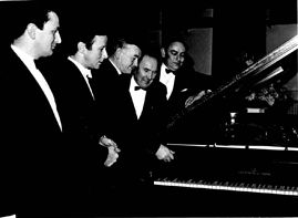 LMA Steinway Grand Piano Launch (1971): John Harrington, Peter Katin, Mayor J.P. Liddy, John Ruddock, Des Parker