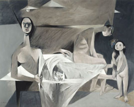 Louis le Brocquy, A Family, 1951, oil on canvas, 147 x 185 cm, Collection National Gallery of Ireland, © the artist